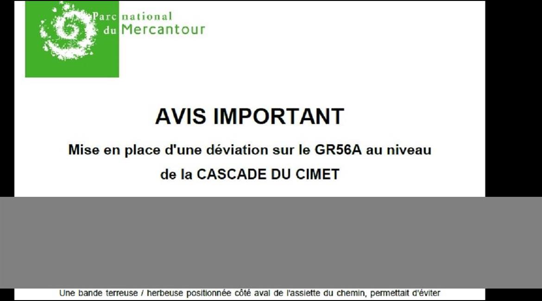 AVIS IMPORTANT, DANGER SUR GR56A /  MERCANTOUR - UBAYE