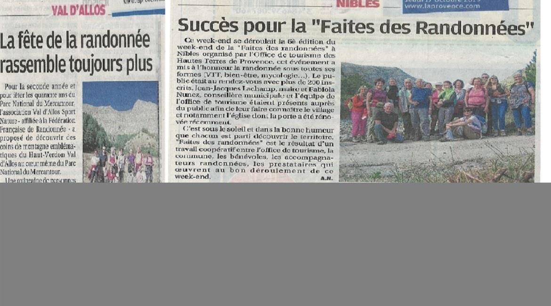 """""""FAITES des RANDONNEES"""" et """"FETE de LA RANDONNEES"""" Val d'ALLOS"""